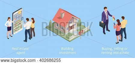 Isometric Concept For Home Agent, Sale And Rent Of A House And Buyer Or Customer. Property For Sale.