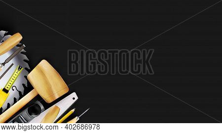 Composition 3d Of Set Tools Of Joinery, Carpentry Craft Or Construction Isolated On Black Background