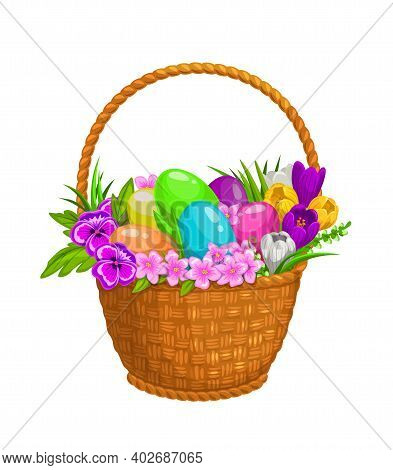 Easter Eggs And Spring Flowers In Wicker Basket, Vector Isolate Icon. Happy Easter Egg Hunt, Spring