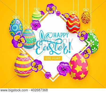 Easter Egg Hunt Vector Greeting Card Of Hanging Easter Eggs With Painted Ornaments And Bunny Or Rabb