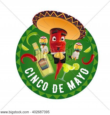 Cinco De Mayo Vector Icon, Jalapeno In Mexican Sombrero Playing Maracas. Tequila Bottle With Lime, R