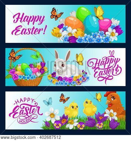 Easter Bunny Vector Banners Of Egg Hunt Holiday Design. Easter Egg Hunt Basket, Rabbit, Chicks And C