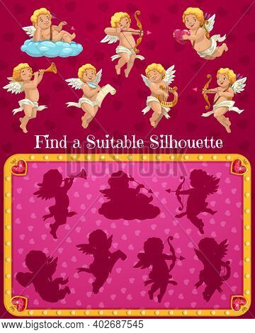 Valentines Day Child Find Suitable Silhouette Game With Cupids Cartoon Characters. Kids Playing Acti