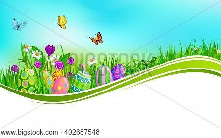 Easter Eggs With Green Grass Wave Vector Banner. Easter Holiday Eggs, Spring Grass Blades And Flower