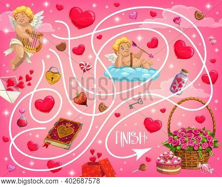 Valentine Day Holiday Maze For Children With Cherubs And Hearts. Kids Labyrinth Game, Child Playing