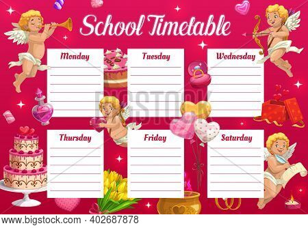 Valentine Day School Timetable For Kids With Cupids And Gifts. Child Calendar And Classes Planner Te