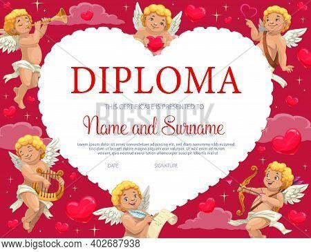 Saint Valentine Day Child Certificate, Diploma Template With Cupids. Children School Or Kindergarten