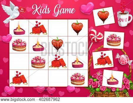 Kids Logical Game With Saint Valentine Day Symbols. Child Crossword Or Riddle, Children Playing Acti