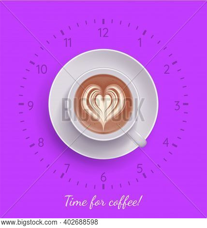 Time For Coffee Banner. Creative Poster Of Fuchsia Color With Handwritten Inscription, Clock And Cup