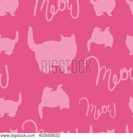 Draw Seamless Pattern Pink Cat With Text Meow. Vector Illustrator Minimalist Cartoon Style. Doodle C
