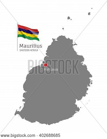 Silhouette Of Mauritius Country Map. Gray Detailed Editable Map With Waving National Flag And Port L