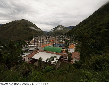Panorama Of Santa Teresa Town City Village Green Rainforest Valley Andes Mountains Aguas Calientes M