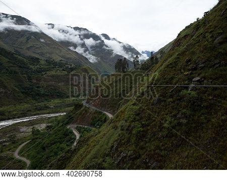 Adventure Zipline Canopy Near Santa Teresa Green Rainforest Valley Andes Mountains Aguas Calientes M