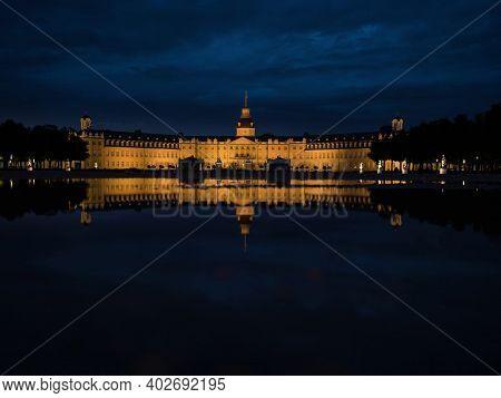 Panorama Night Reflection Of Schloss Karlsruhe Castle Palace Schlosspark In Baden Wurttemberg German