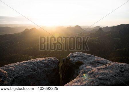 Sunrise Panorama Edge Cliff Crack Crevasse At Kleiner Winterberg Saxony Switzerland Elbe Sandstone M