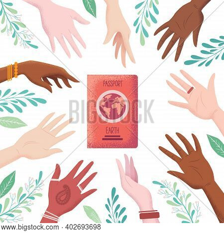Vector Illustration In Flat Style With Men And Women Hands And Earth Passport Isolated On White Back