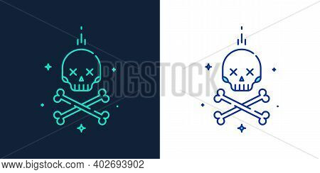 Vector Linear Style Icon Of Skull With Crossbones