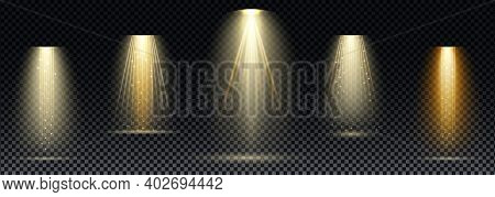 Gold Spotlight. Bright Lighting With Spotlights Of The Stage On Transparent Background