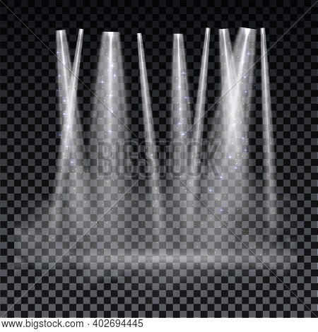 White Spotlight. Bright Lighting With Spotlights Of The Stage On Transparent Background