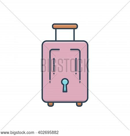 Color Illustration Icon For Baggage-luggage Baggage  Luggage Journey Insurance Tourist