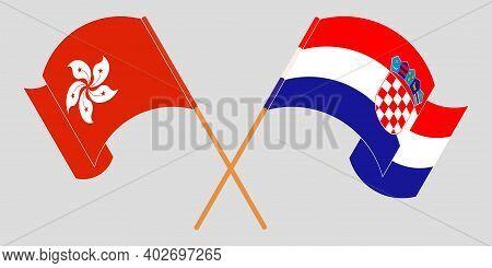 Crossed And Waving Flags Of Croatia And Hong Kong. Vector Illustration