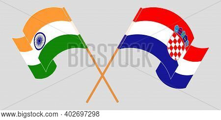 Crossed And Waving Flags Of Croatia And India. Vector Illustration