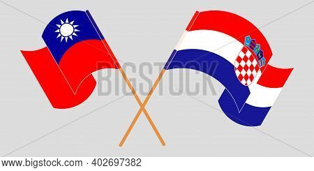 Crossed And Waving Flags Of Croatia And Taiwan. Vector Illustration