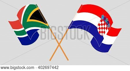 Crossed And Waving Flags Of Croatia And The Rsa. Vector Illustration