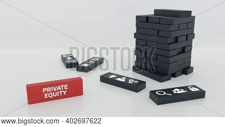 Business, Technology, Internet And Network Concept. Dominoes With The Inscription: Private Equity. 3