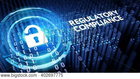 Cyber Security Data Protection Business Technology Privacy Concept. 3d Illustration. Regulatory Comp
