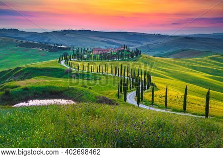 Majestic Summer Colorful Sunset Scenery In Tuscany. Stunning Flowery Grain Fields And Curved Rural R