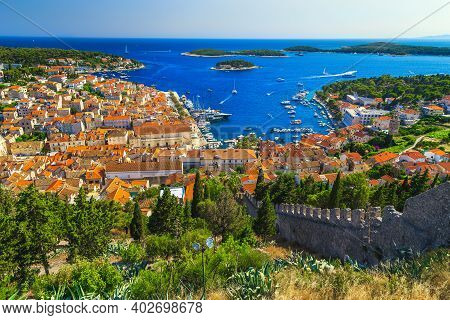 Amazing View From The Spanjola Fortress Garden With Hvar Harbor And Green Islands In Background, Hva