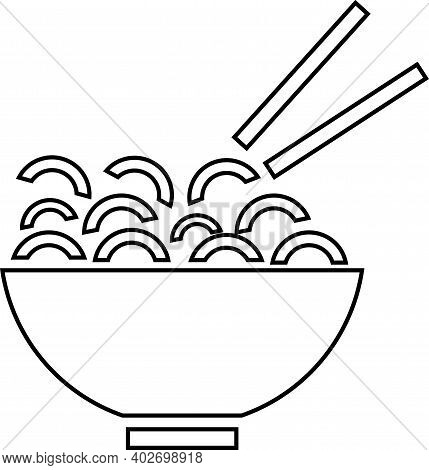 A Plate Of Noodles With Chopsticks Contour. Vector Black And White Illustration.