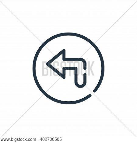 turn left icon isolated on white background. turn left icon thin line outline linear turn left symbo