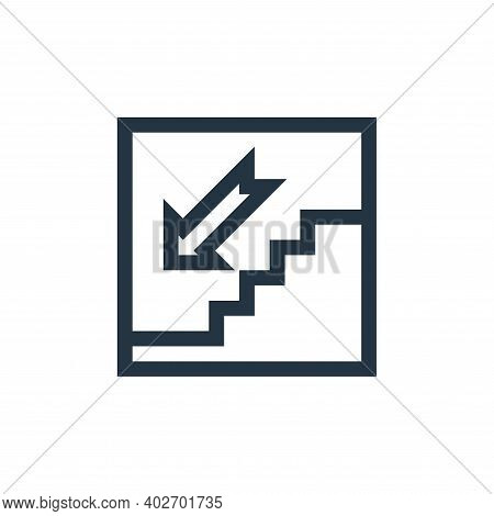 down icon isolated on white background. down icon thin line outline linear down symbol for logo, web