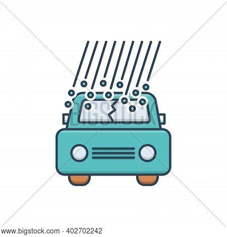 Color Illustration Icon For Hail-damage Hail Damage Car-hail Insurance Danger