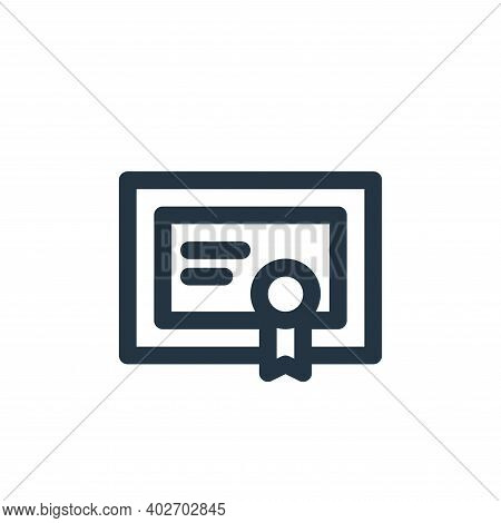 certificate icon isolated on white background. certificate icon thin line outline linear certificate