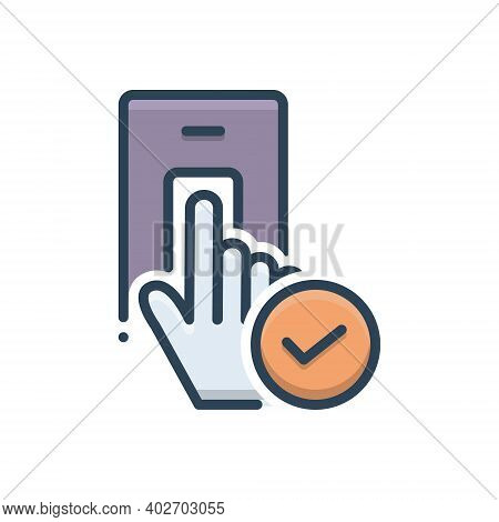 Color Illustration Icon For Accepted Granted Recognized Permeable Biometric