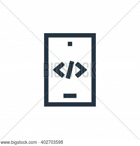 code icon isolated on white background. code icon thin line outline linear code symbol for logo, web