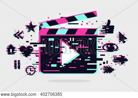 Cinema Background. Vector Banner With Movie Objects. Online Video Backdrop. Glitch Style Image With