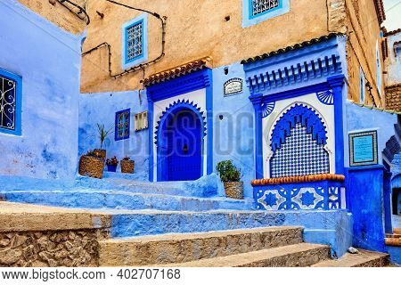 Chefchaouen, Morocco - May 29, 2017: View Of The Blue Walls Of Medina In Chaouen. The City Is Noted