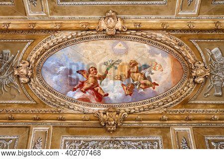 Bergamo, Italy - May 22, 2019: Exterior Details Of The Roman Catholic Church Chiesa Della Beata Verg