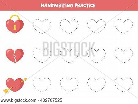 Tracing Lines With Valentine Hearts. Trace The Lines With Different Hearts.