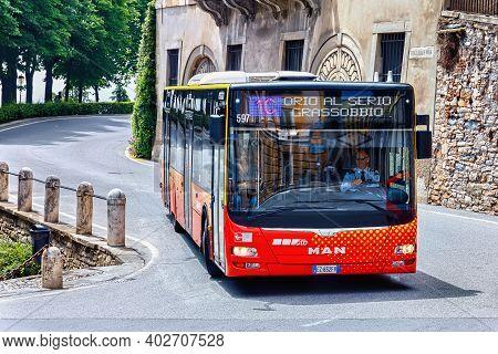 Bergamo, Italy - May 22, 2019: Public Bus (1c Orio Al Serio Airport Route) On The Road In Bergamo.