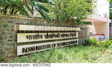 New Delhi - 16 Apr, 2020 - Sign Of The Indian Institute Of Technology Delhi Near The Entrance Gate O