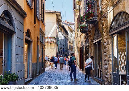 Bergamo, Italy - May 22, 2019: View Of The Old Historic Streets In Upper Bergamo (citta Alta). Berga