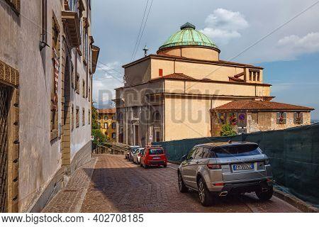 Bergamo, Italy - May 22, 2019: View Of The Neoclassic Sant'andrea Church In Bergamo. The Church Rebu