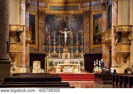 Bergamo, Italy - May 22, 2019: Interior Of The Roman Catholic Church Sant'alessandro In Colonna (ded