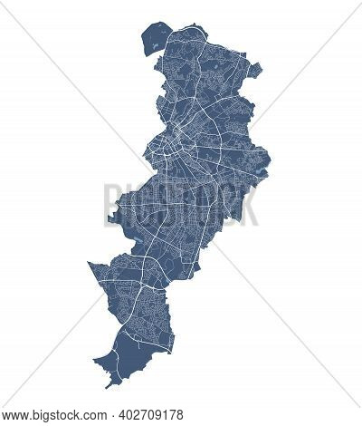 Manchester Map. Detailed Vector Map Of Manchester City Administrative Area. Cityscape Poster Metropo