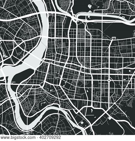 Urban City Map Of Taipei. Vector Illustration, Taipei Map Grayscale Art Poster. Street Map Image Wit